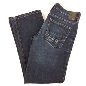 Helix Blue Cotton Distressed Slim Boot Jeans 30W